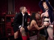 Interracial threesome bondage blowjob