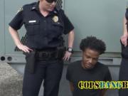 Horny cop riding monster black boner
