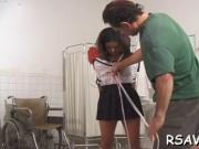 Ebony gets titty torture