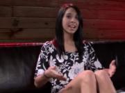 Roped babe pussy examination