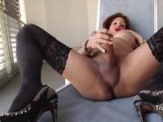 Black stockings tranny stroking massive cock