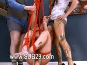 Extremely hardcore BDSM rope sex with ass action