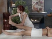 Redhead lesbian Asian masseuse gets licked