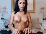 Beautiful busty tranny jerks off