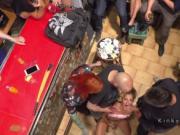 Spanish babe slave gangbanged in public