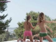 Lesbos cuties stripping and touching
