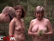 Nature nudists hiking naked outside