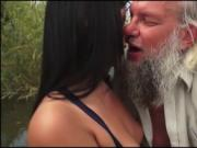 Naomi sucking off grandpas hard cock outside and rides