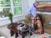 Frankie fucks Melissa with his old cock doggystyle