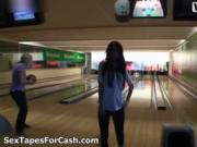 Sexy brunette babe gets horny playing bowling by SexTap