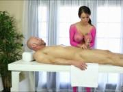 Massive boobs masseuse fucked her client on massage tab
