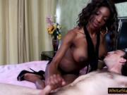 black femdom gives mean handjob