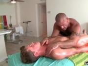 Sexy guy gets oiled up and prepped for gay massage 3 by