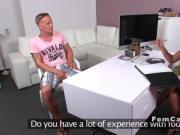 Female agent giving footjob on limp dick