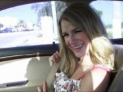 Hitchhiking teen Dixie Belle toilet fuck with stranger