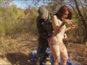 Redhead babe gets pounded on the border