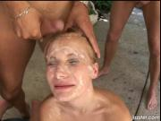 Cock jerking makes that sweet face covered with sperm b