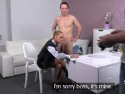 Nylon stockings agent jizzed on fake casting