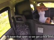 Blonde first time lesbian in fake taxi