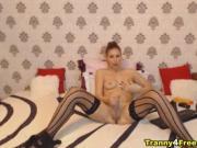 Hottie Tranny Jerking Her Big Dick on Cam
