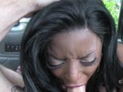 Huge tits ebony sucks long dick in cab