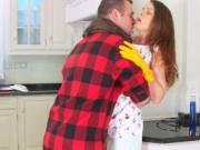 Big cock dude fucks redhead Milf in the kitchen