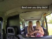 Busty lesbians fucks in taxi