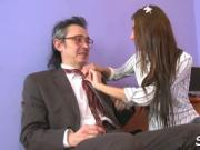 Old teacher pleasured by teen