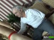 Old dude takes care of younger babe who comes over to v