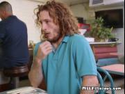 Mature Waitress Andy James Sucks Clients Big Cock