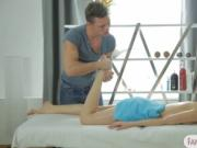 Brunette babe deeply fucked by masseur