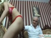 Sexy girl riding handicapped dude