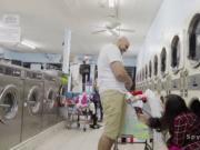 Voyeur bangs busty babe in laundromat