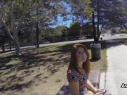 Doggystyle at the tennis court with redhead teen
