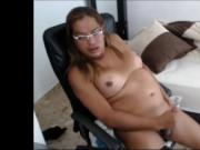 Horny fat transsexual masturbates