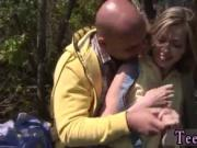Skinny blonde cam couple Abby gargling spear outdoor