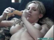 Kinky amateur slut Julie teases pussy with big banana