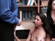 Skinny latina shoplyfter ordered by mom to use her asse
