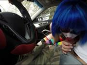 Pretty teen Mikayla Mico in clown costume smiled as a s