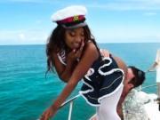 Ebony cutie gets banged outdoors