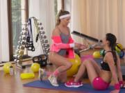 Stiff fitness lesbians lickand finger at the gym