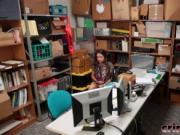 Brunette Thief Shane Blair Gets Banged In Office