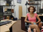 Ebony teen flash her big boobs in the office for money
