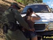 Horny cop pounding shaved pussy