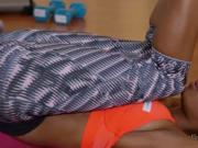 Fit teen ebony has workout and fuck
