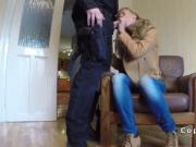 Fake cop bangs blonde in friends house