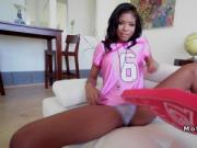 Slim ebony football fun bangs big dick