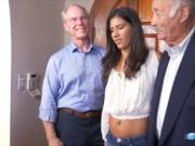 Kinky grandpas fucking with a hot latina and a pinata