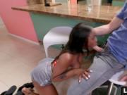 Ebony big ass babe Sarah Banks interracial fucked