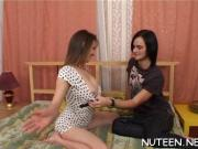 Gal kneels and gives head